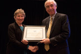 Jay Pasachoff receives the Richtmyer Memorial Lecture Award from Mary Elizabeth Mogge.