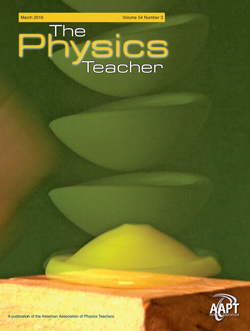 March 2016 cover, The Physics Teacher