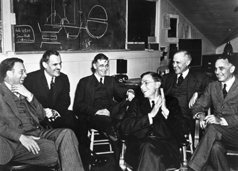 A 1940 meeting at Berkeley with (from left to right) Ernest O. Lawrence, Arthur H. Compton, Vannevar Bush, James B. Conant, Karl T. Compton, and Alfred L. Loomis